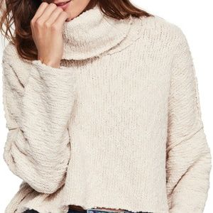 Free People Cream Big Easy Cowl Neck Sweater F3